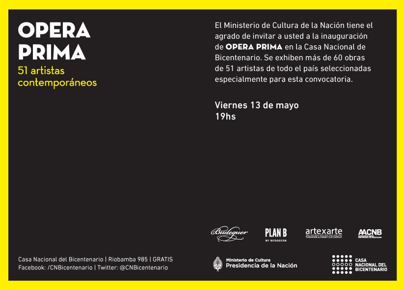 Juan Gugger, artista residente de Fundación Tres Pinos, participa de Opera Prima  en Casa Nacional del Bicentenario