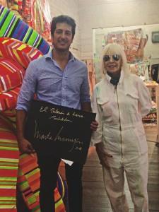 Rodrigo Cadenas, Presidente de Fundación Tres Pinos y la artista Marta Minujín en su estudio